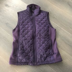 LL Bean Purple Poly Blend Fleece Puffy Vest.